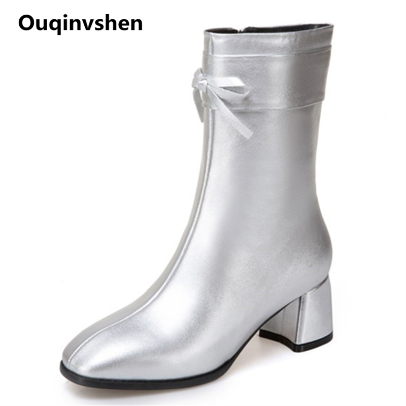 Ouqinvshen Butterfly-knot Silver Boots Women Zipper Square Toe Plus Size Women Fashion Office Ankle Boots Thick Heel High Heels ouqinvshen pointed toe thin heels women boots ladies super high heels ankle boots casual fashion butterfly knot women s boots