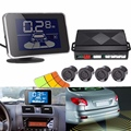 Solar Wireless LED Display Car Parking Sensors 4 Black Parking Sensors Reverse Backup Radar Buzzer Alarm System Kit