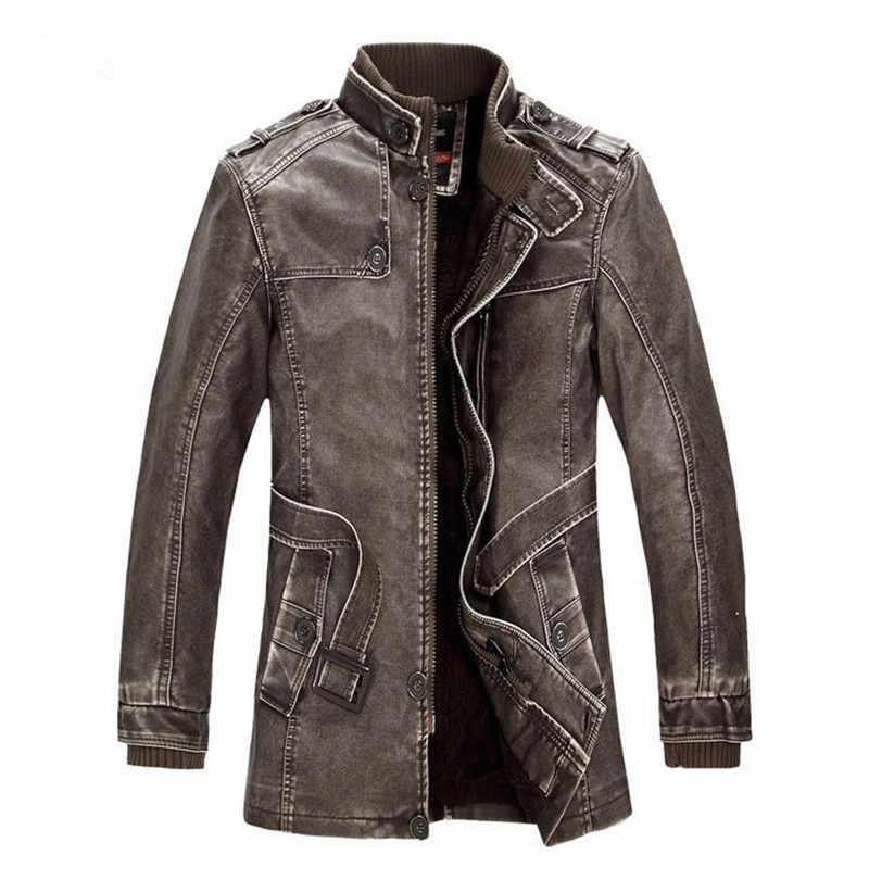 Популярные высококачественные зимние мужские пальто теплая куртка в стиле ретро мужская кожаная куртка плюс бархат мотоцикл ветрозащитный Искусственная кожа