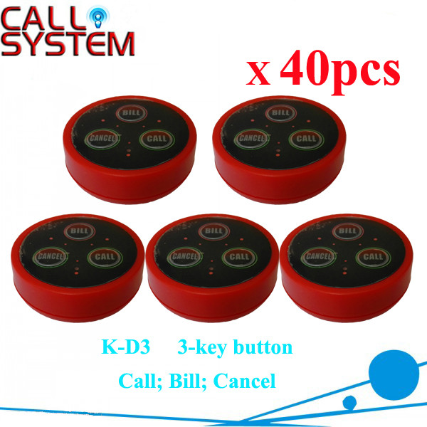 K-D3 red 40pcs Restaurant buzzer paging system