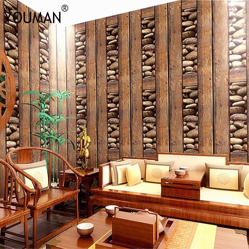 Papier peint youman 3d Vintage PVC étanche 3d pierre papier peint panneaux vinyle bois papier peint rouleau pour salon chambre murs