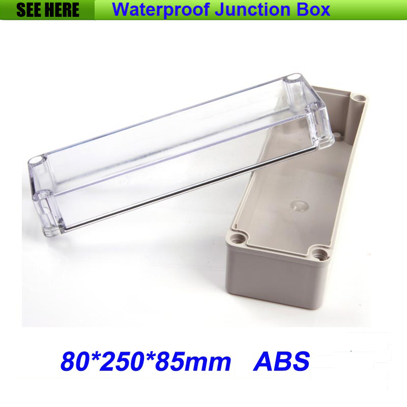 все цены на Free Shipping Good Quality ABS Material Transparent Cover IP66 Waterproof Circuit Breaker Box 80*250*85mm