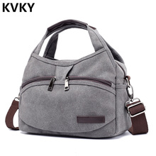 Vintage Canvas Bag Women Handbags Multi-pocket Hobos Shoulder Female Casual Tote Ladies Crossbody Bolsas Feminina