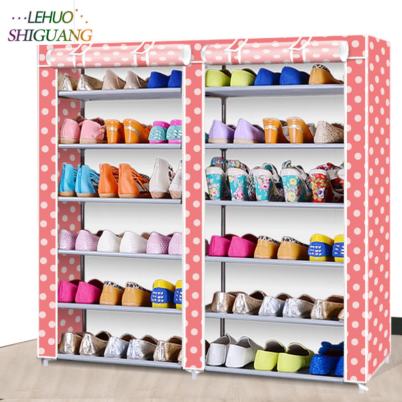 42-inch 7-layer 12-grid Non-woven fabrics Double row Shoe rack organizer removable shoe storage for home furniture shoe cabinet 4 layers of simple dust proof moisture proof shoe rack thick non woven stainless steel shoe free assembly of home furniture