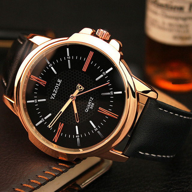 YAZOLE Watches Men Top Brand Luxury Famous Sports Quartz Watch Male Clock Rose G