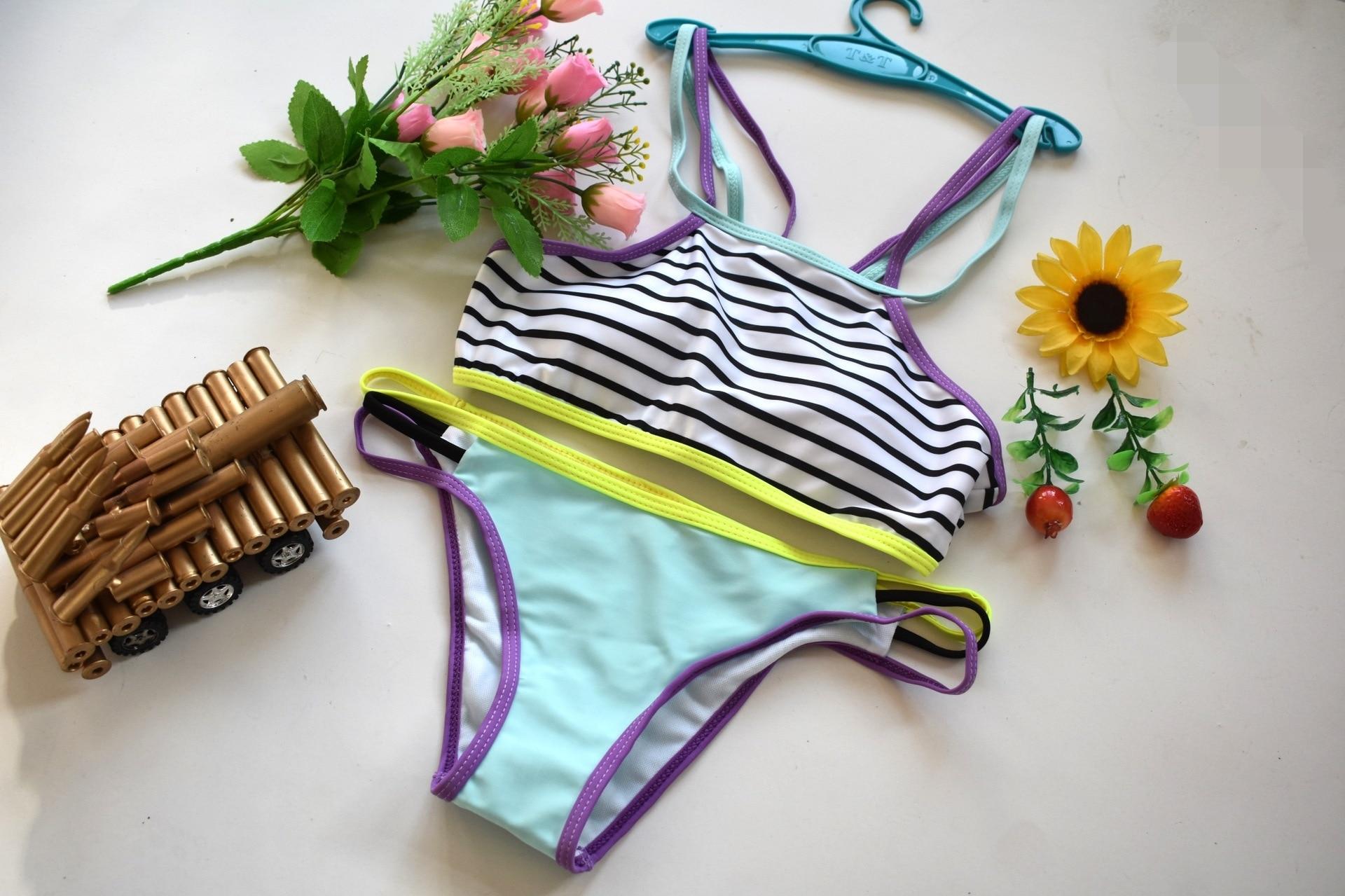 2017 New Stripped High Neck Patchwork Bikini Set Swimsuit Bathing Suit Swimwear Beachwear