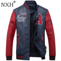 NXH jaket men Red leather jacket mens embroidery motorcycle leather jackets men Bomber PU Jeep leather mens winter coat big size