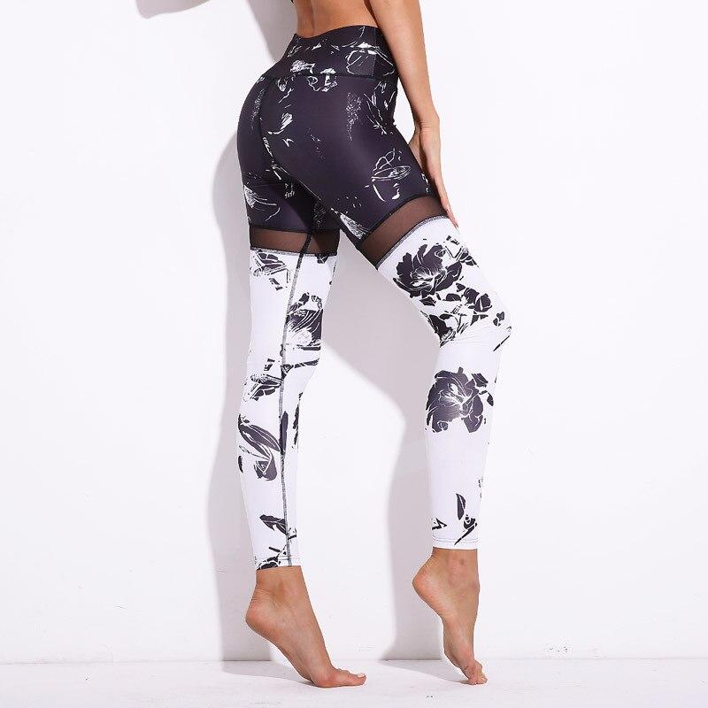 Black/White Digital Print Leggings Women Mesh Patchwork Elastic Shiny Sporting Leggins Fitness Pants Slim Workout Trouser Legin