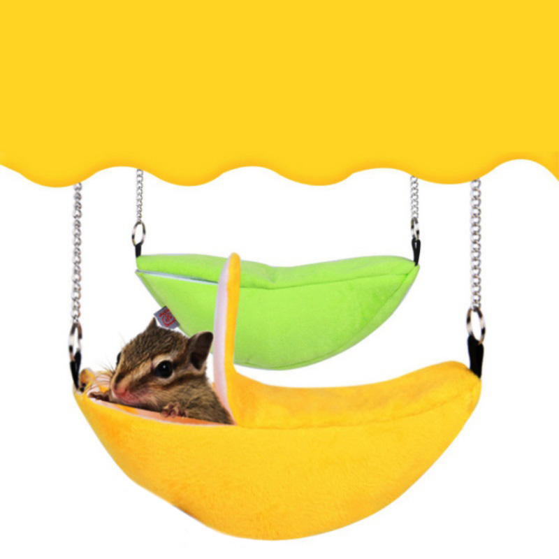 Hot Pet House Cages Cricetulu Banana Shape Soft Breathable Cotton Wool Hanging Sleeping Bed Small Animal Supplies