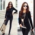 Новый 2015 Женщины Куртка Весна Осень Асимметричный С Длинным Рукавом Хлопок Твердые Случайные Свободные Пальто Черный, серый ML 30