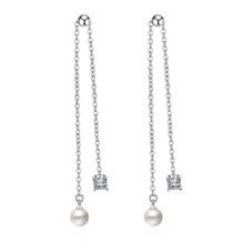 New Arrivals Trendy Plastic Pearl CZ Zircon 925 Sterling Silver Ladies`Long Tassel Stud Earrings Original Jewelry For Women Gift