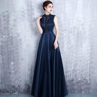 LYFZOUS Elegant Satin Party Dress Women Beaded Sleeveless Long Dresses Sexy Navy Blue Backless Empire Big Hemline Maxi Dress