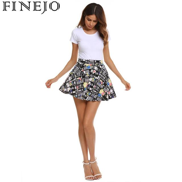 FINEJO Women Summer Sexy Party Club Bohemia Style Print Mini Pleated Skirts