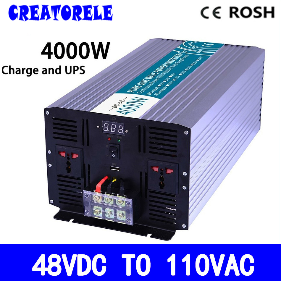 P4000-481-C pure sine wave 48v to 110v off grid 4000w UPS inverter solar inverter voltage converter with charger and UPS p800 481 c pure sine wave 800w soiar iverter off grid ied dispiay iverter dc48v to 110vac with charge and ups