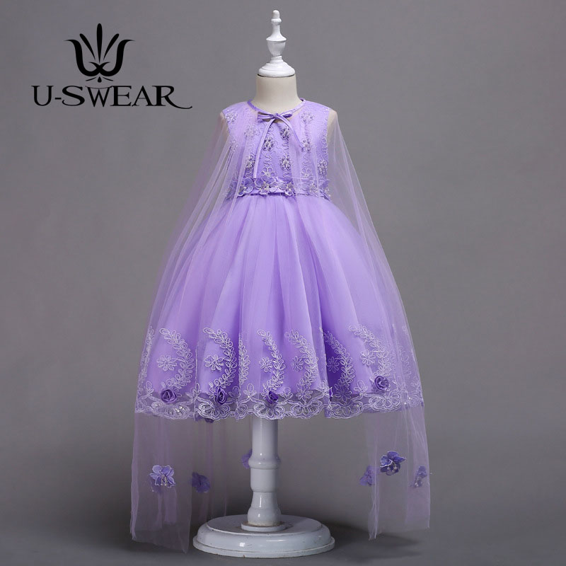 U-SWEAR 2019 New Arrival Elegant   Flower     Girl     Dresses   Detachable Mesh Cloak Flora Lace Appliqued Pearls Beaded Chiffon Ball Gown
