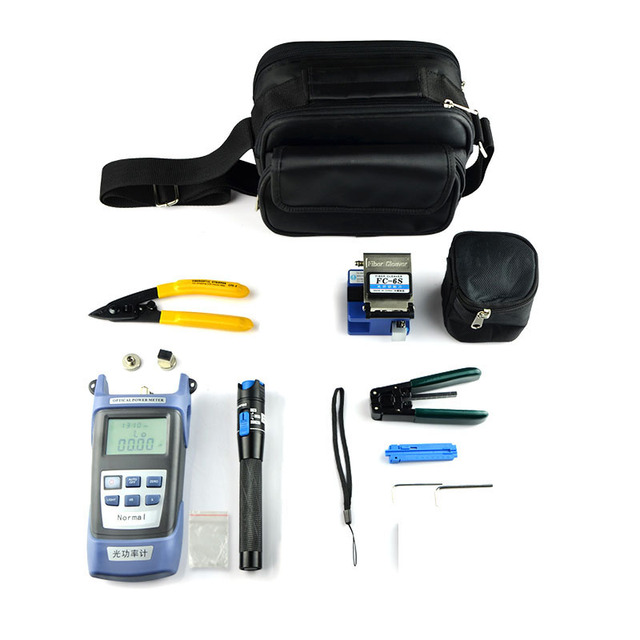 10pcs/lot FTTH Tool Kits with FC-6S Fiber Cleaver and Optical Power Meter 1mW Visual Fault Locator Cable Stripper