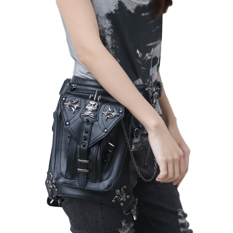 Rock Leather Vintage Gothic Steampunk Handbag Waist Pack Shoulder Bag Retro Leg Bag steam steampunk punk motorcycle waist pack men women handbag messenger bag mini vintage retro rock bag