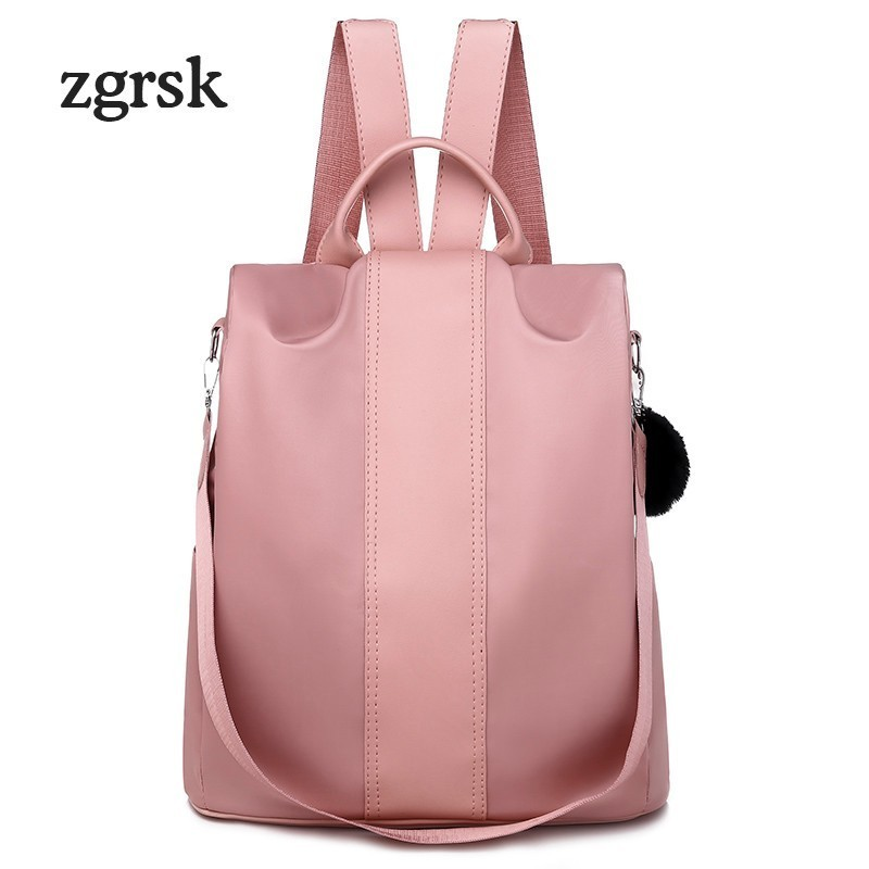Student Backpack Korean Style Polyester Zipper Solid None Pink Casual School Backpacks For Teenagers Mochila Notebook Bookbags in Backpacks from Luggage Bags
