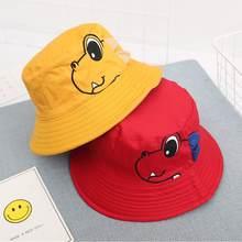 Chapéu de balde de pesca reversível, chapéu com dois lados de desenho animado do dinossauro para crianças, chapéu verão, tampas bob para meninos e meninas, pesca solar, panana, balde, 2019 chapéu com chapéu