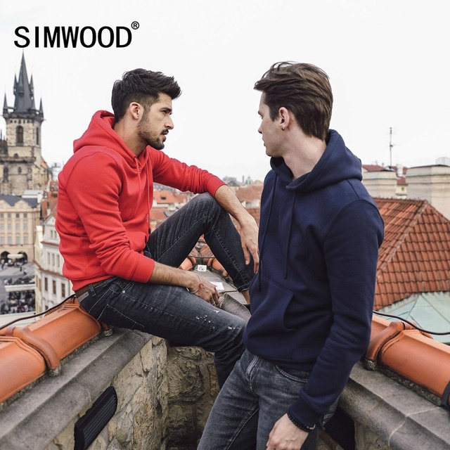 SIMWOOD  Hoodies Men Casual Solid Color 2019 spring Winter New Warm Fleece Hooded Sweatshirts High Quality Plus Size 180219