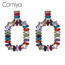 Comiya Marke Stud Ohrring Mix Farbe Strass Mosaik Zink-legierung Pendientes Mujer Aliexpress Große Ohrringe Für Frauen Aus Indien
