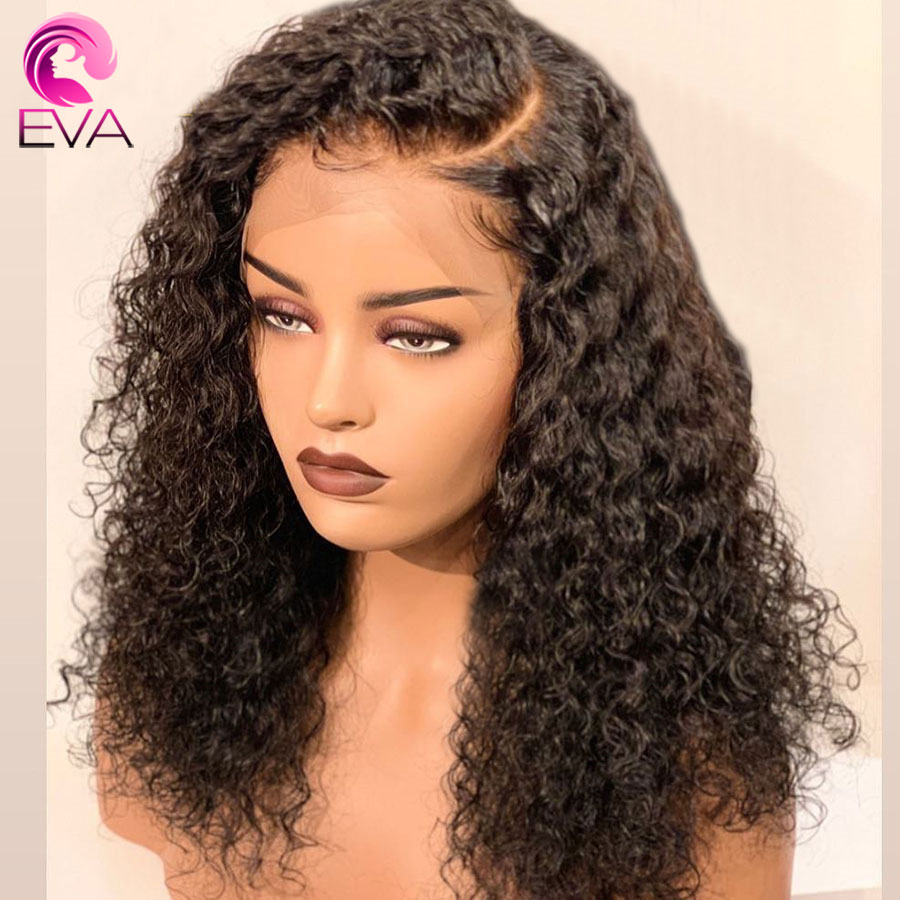 Eva Glueless Curly 360 Lace Frontal Wigs Pre Plucked With Baby Hair Brazilian Remy Human Hair Wig Bleached Knots For Black Women