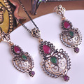 Hot Selling Turkish Vintage Jewelry Sets Heart Love Necklace & Earrings серьги Resin Crystal Colares Bijuterias Gift for Love Bijoux uk