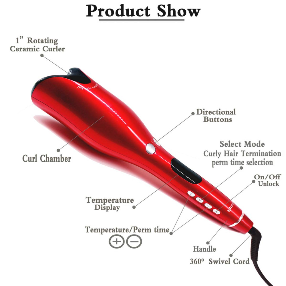 2019 Professionnel Automatique fer à friser les cheveux Magie Rotation bigoudi Salon du Rouleau baguette de curling En Céramique Outils de Coiffage Des Cheveux - 2