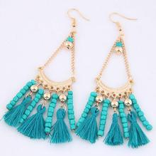 NANBO Bohemian Earring for Women Alloy Maxi Trendy Beads Tassel Long Druzy Stud Earrings MX1195