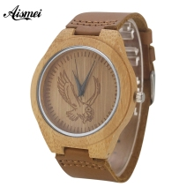 2017 Design Mens Bamboo Wooden Watches Top Luxury Eagle dial Wood Quartz Watches With Genuine  Leather Strap Relojes de hombre