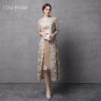 Two Piece Mother of the Bride Dress with Long Lace Jacket Knee Length Three Quarter Sleeve