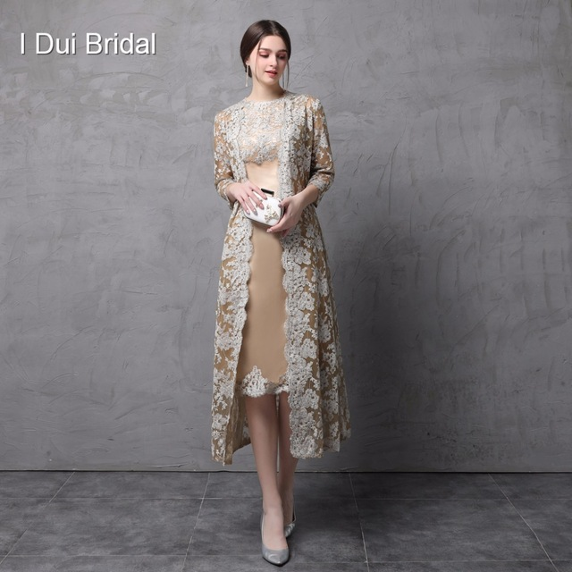 796ad2365a8 Two Piece Mother of the Bride Dress with Long Lace Jacket Knee Length Three  Quarter Sleeve