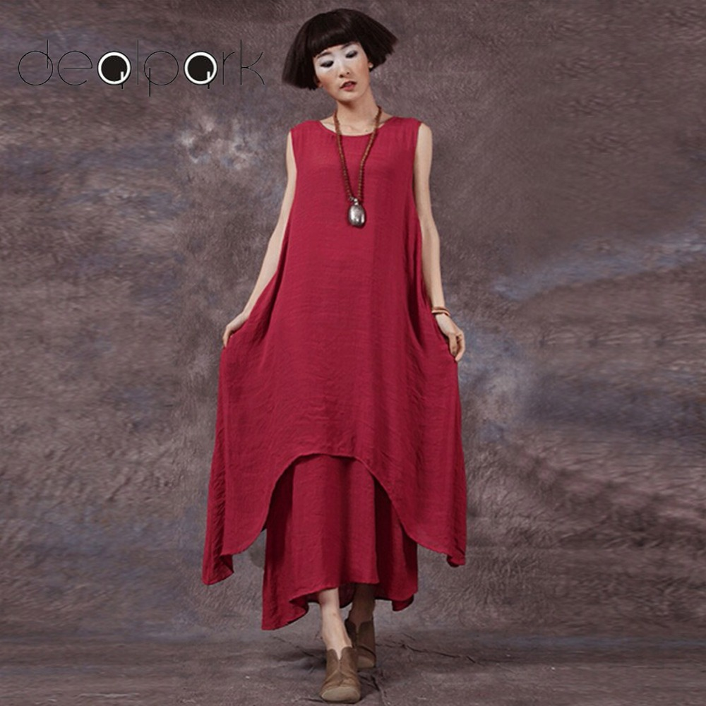 37113d037f Plus Size 3XL 4XL 5XL Vintage Dress Women Retro Bohemian Maxi Dress  Sleeveless O-Neck