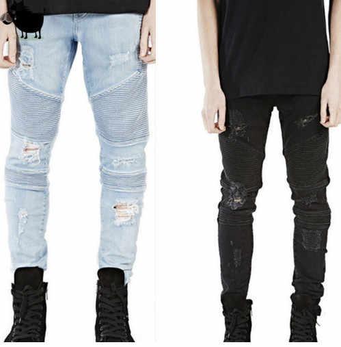 31322f78e964 Man Si Tun 2017 Destroyed Mens Slim Denim Straight Biker Skinny Jeans Men  Ripped Jeans Represent