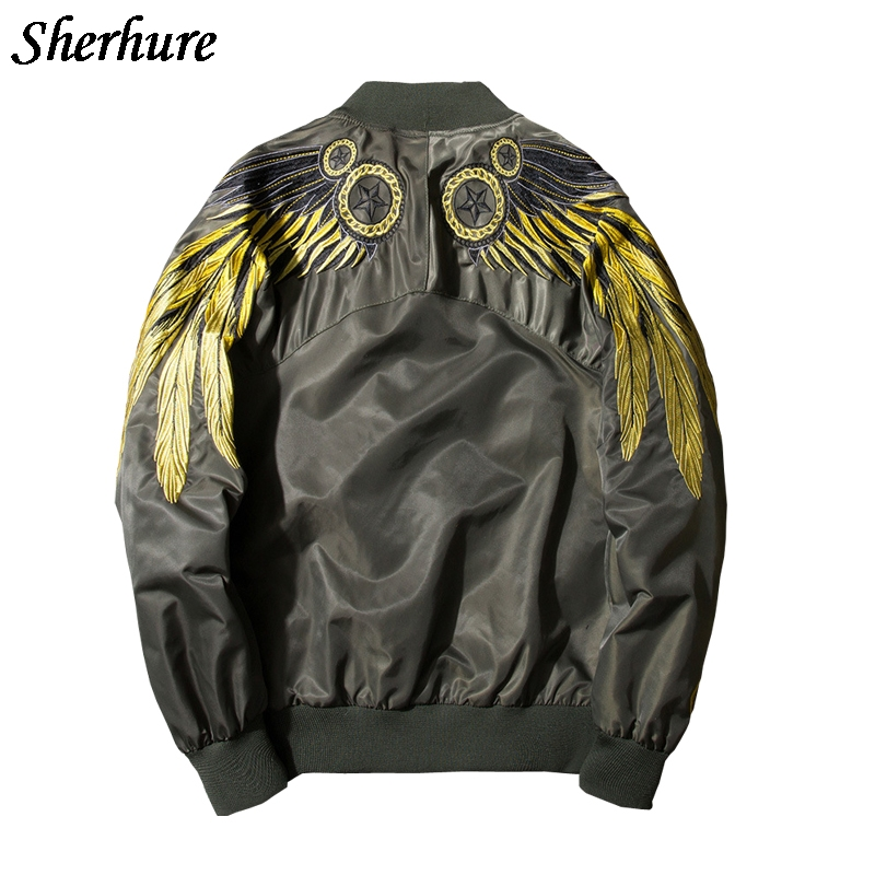 Sherhure 2017 Women Jacket Embroidery Wing Coat Retro bomber Vintage Coat Plus Size Boho Women Tops Couple Jackets Jaqueta
