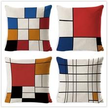 FOKUSENT Decorative Throw Pillow Case Cover Geometric Cotton Linen Cushion Cover For Sofa Home Capa De Almofadas 45x45cm недорого