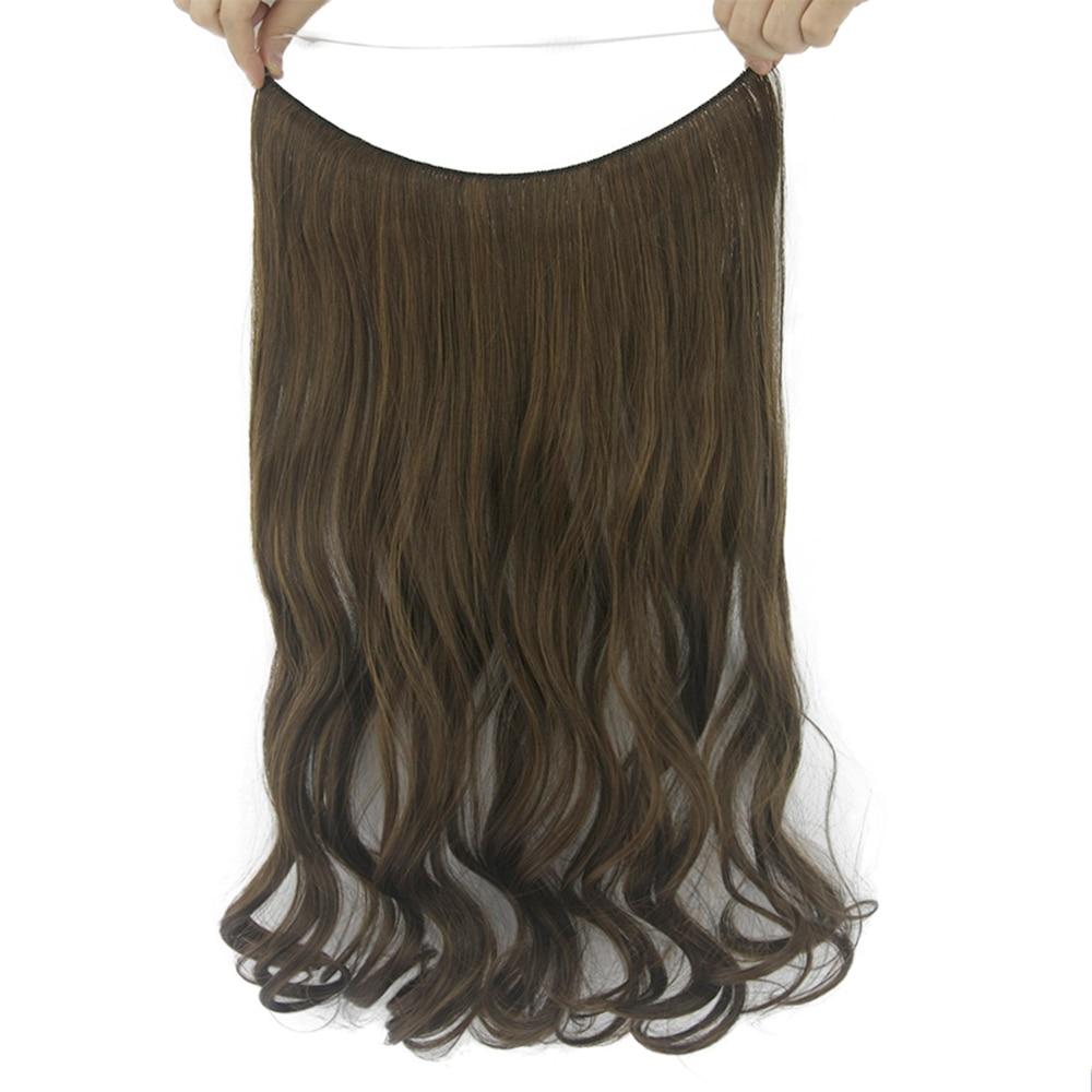 Soowee 10 цветов Длинные вьющиеся каштановые блондинка Синтетические волосы рыба линия Halo невидимый волос Головные уборы Интимные аксессуары ...