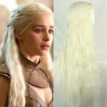 Movie Game of Thrones Daenerys Targaryen Cosplay Headwear Long Blonde Peluca Woman Halloween Costumes Carnival Purim party dress цена 2017