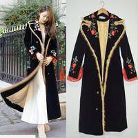 2018 Winter Mink fur velvet embroidered Women Vintage Black Velvet Maxi Coat Thick Warm Long Trench Coat
