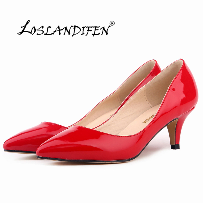 Classic Sexy Pointed Low Med Kitten Heels Women Pumps Shoes Spring Brand  Design Wedding Shoes Dress b02ca5210bfc