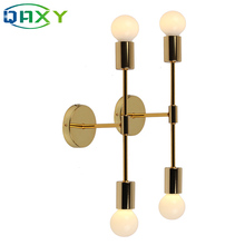 Post-modern E27 2-Head Golden Wall Lights Bedroom Bedside Plated Lamp Decorated In Aisle/Bedroom/Foyer/Living Room[BG3303]
