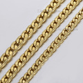 6/7/8mm Mens Chain Boys Hammered Cut Curb Cuban Link  Gold Tone Stainless Steel Necklace Chain Fashion Jewelry Gift LKN349