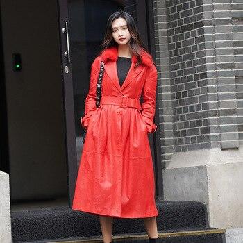 a79239e384a Для женщин меховое пальто из норки меховой воротник 100% Дубленка из  натуральной кожи куртка женская одежда 2019 корейский женский ZT2228