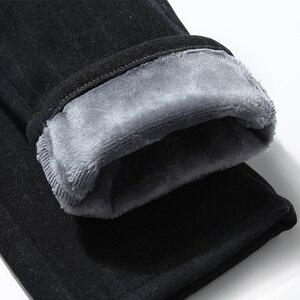 Image 5 - מותג גברים של חורף צמר קצפת לעבות חם מכנסי קזואל גברים עסקים ישר אלסטי עבה משובץ כותנה אפור מכנסיים זכר