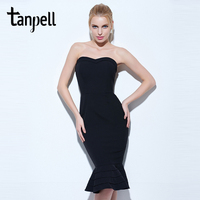 Tanpell Strapless Cocktail Dress Black Sleeveless Knee Length Mermaid Gown Women Hourglass Party Formal Short Cocktail