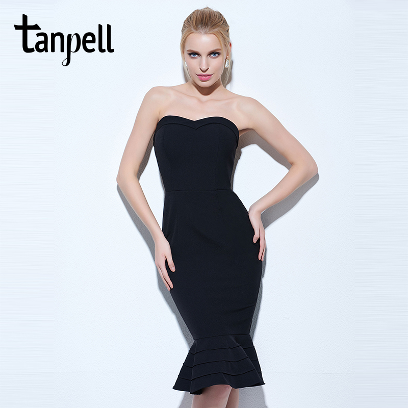 Tanpell strapless cocktail dress black sleeveless knee length mermaid gown women hourglass party formal short cocktail dresses