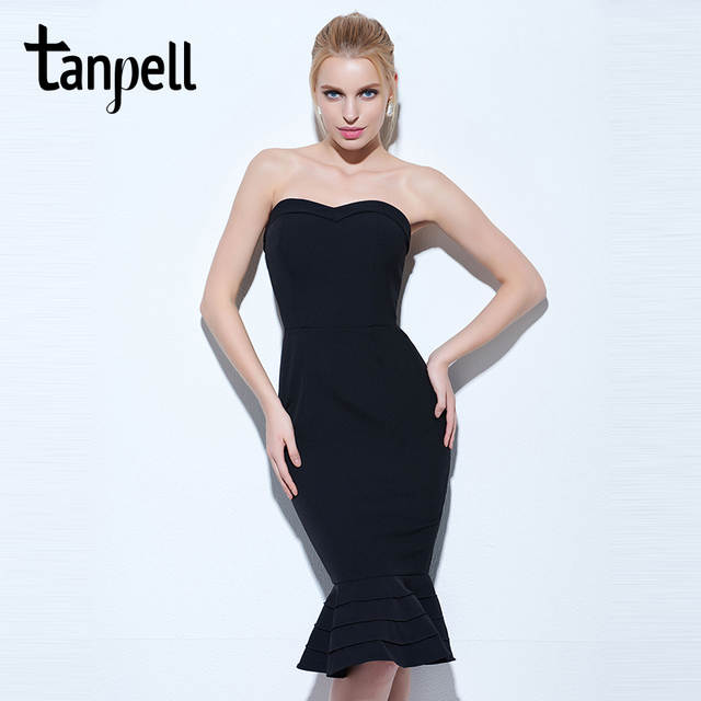 1f2e3ea8d74d0 US $20.0 50% OFF|Tanpell strapless cocktail dress black sleeveless knee  length mermaid gown women hourglass party formal short cocktail dresses-in  ...