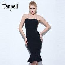 Tanpell strapless cocktail font b dress b font black sleeveless knee length mermaid gown font b