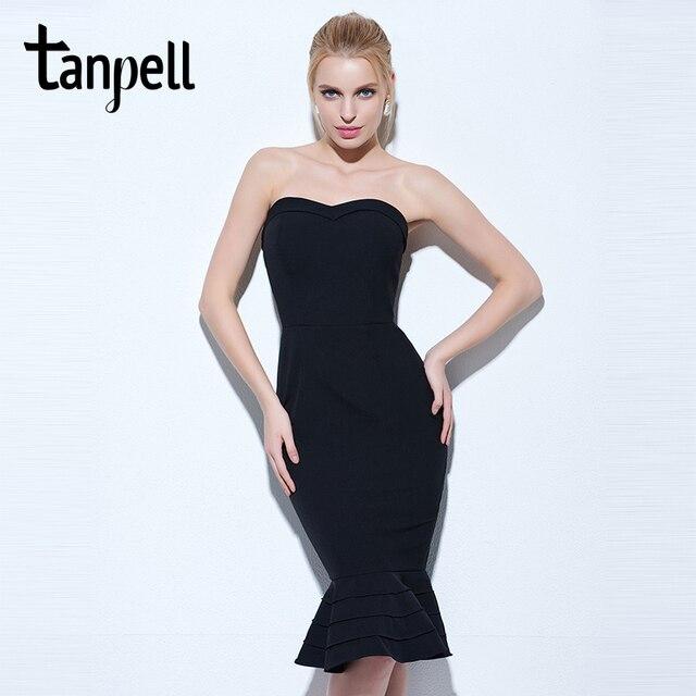 73b04e68ed Tanpell sukienka bez ramiączek czarny bez rękawów kolano długość syrenka  suknia kobiety klepsydra party formalne krótkie