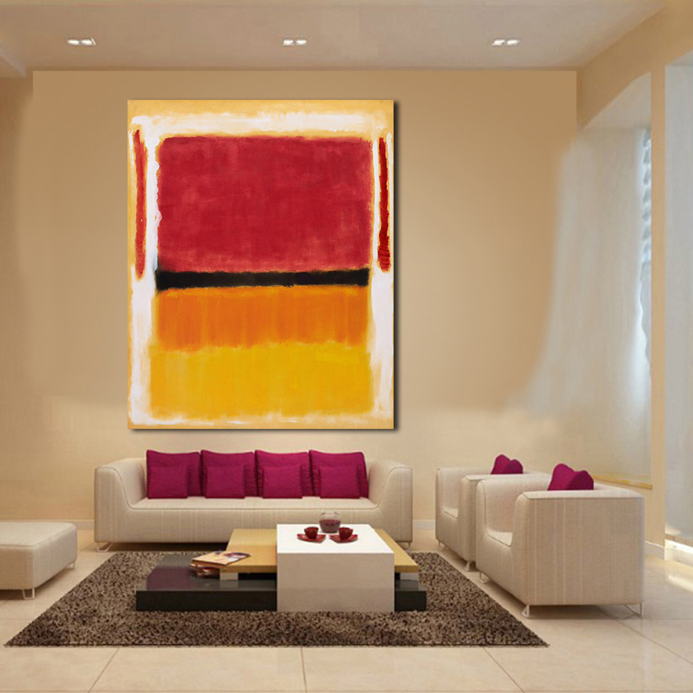 Jqhyart mark rothko classical oil painting wall art - Modern wall decor for living room ...